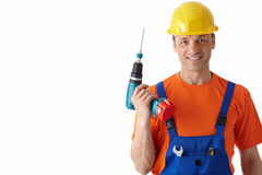 Man with a drill Royalty Free Stock Photos