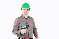 A man with drill in hand Stock Photography