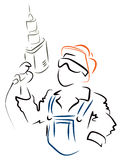Man with drill. Illustration of worker with drill at work Royalty Free Stock Image
