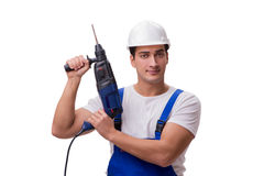 The man with drill isolated on the white Stock Image