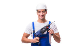 The man with drill isolated on the white Royalty Free Stock Photos