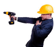 Man with a drill Royalty Free Stock Images