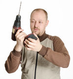 Man with drill machine Royalty Free Stock Photography