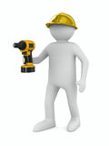 Man with drill on white background Stock Photos