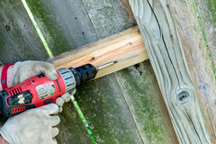 Man drilling holes for wood fence repair. Mans hands and drill -  drilling holes for wood fence repair Royalty Free Stock Photo