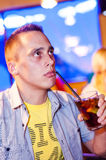 Man with drink Royalty Free Stock Photography