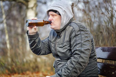 Man drink beer from bottle in the park Stock Image