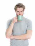 Man drink from coffee or tea cup Stock Photo