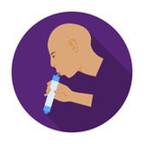 Man drink through compact filter icon in flat style isolated on white background. Water filtration system symbol stock Royalty Free Stock Images