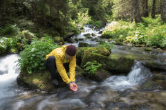 Man drink water. From clear mountain stream in the lush forest. Wilderness scene stock images