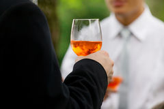 Drink aperitif. Man drinking aperitif during a party stock photo