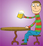 Man Drinking Beer. A man drinking a glass of beer. eps 8 file Stock Photos