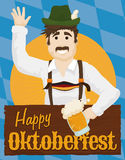 Man Drinking a Beer and Celebrating Oktoberfest with a Wooden Sign, Vector Illustration Stock Photography