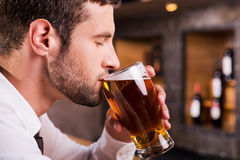Man drinking beer. Side view of handsome young man drinking beer while sitting at the bar counter Royalty Free Stock Photos