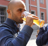 Man drinking beer Stock Image