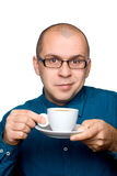 Man drinking black coffee Stock Photos