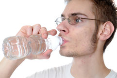 Man drinking bottled water Stock Photos