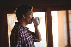 Man drinking a coffee alone Royalty Free Stock Photos