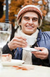 Man drinking coffee autumn Royalty Free Stock Image