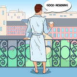 Man Drinking Coffee at the Balcony with Cityscape. Pop Art illustration Stock Photo