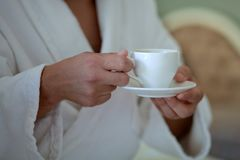 Man is drinking coffee royalty free stock photo