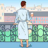 Man Drinking Coffee at the Balcony. Morning in the City. Pop Art illustration Stock Photos