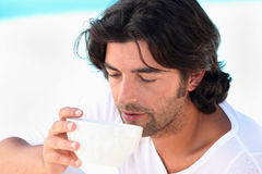 Man drinking coffee Stock Image