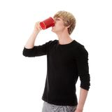 Man drinking a coffee or tea Royalty Free Stock Images