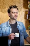 Man drinking coffee Stock Photography
