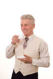 Man drinking from a cup Stock Photo