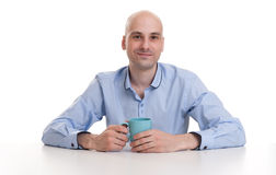 Man drinking a cup of coffee or tea Royalty Free Stock Photo