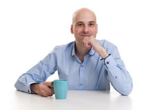 Man drinking a cup of coffee or tea Royalty Free Stock Photos