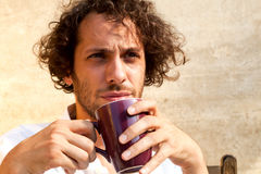 Man drinking a cup of tea Royalty Free Stock Photos
