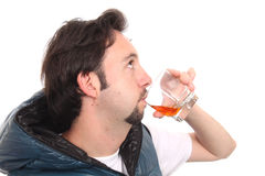 Man drinking a glas of red wine. Stock Photos