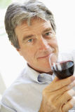 Man Drinking A Glass Of Red Wine Royalty Free Stock Photos