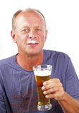 Man drinking his beer Stock Photos