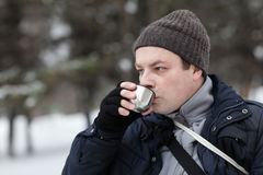 Man drinking hot tea Royalty Free Stock Image