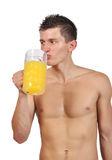Man drinking juic Stock Photo