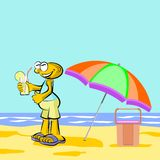 Man drinking lemonade on the beach Royalty Free Stock Images