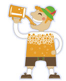 Man drinking a lot of beer.Vector oktoberfest illu Royalty Free Stock Images