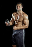 Man drinking protein shake Stock Photos