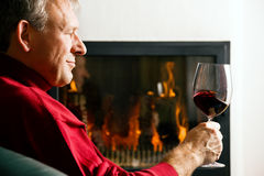 Man drinking red wine Royalty Free Stock Images
