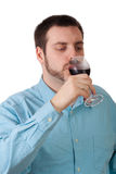 Man drinking red wine Royalty Free Stock Photography