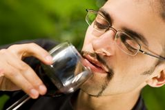 Man drinking red wine Stock Photo