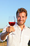 Man drinking rose or red wine toasting. Looking at camera at vineyard. Handsome man drinking from wine glass outdoors Royalty Free Stock Photography