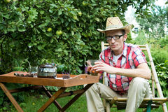 Man drinking tea Stock Photos