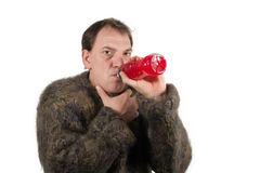 Man drinking Vitamine in the winter time Royalty Free Stock Photos