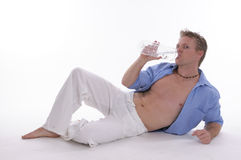 Man drinking water from bottle Royalty Free Stock Photography