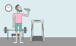 Man drinking water. A caucasian hipster man drinking water in the gym, Vector line design illustration. Healthy, fitness concept. Horizontal layout with a text royalty free illustration