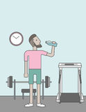 Man drinking water. A caucasian hipster man drinking water in the gym. Vector line design illustration. Healthy, fitness concept. Vertical layout with a text vector illustration